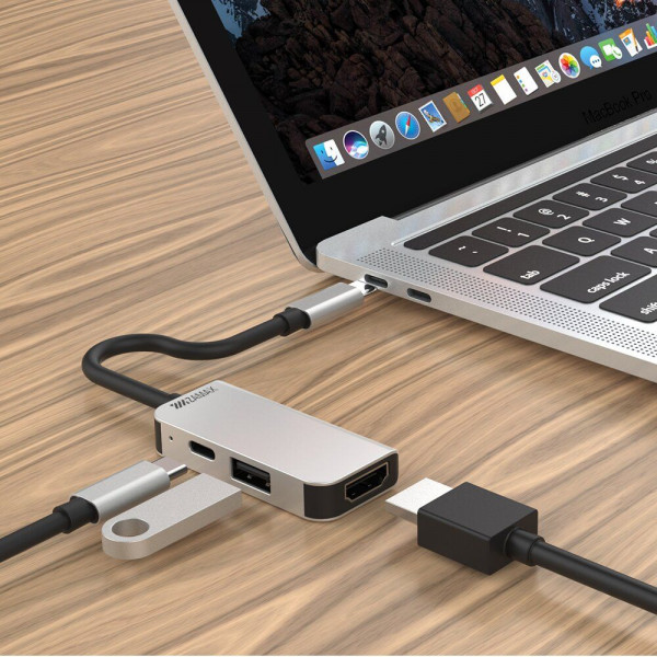 Переходник для Macbook ZAMAX 3 в 1 Type-C to HDMI + USB 3.0 + PD Multifunction Adapter
