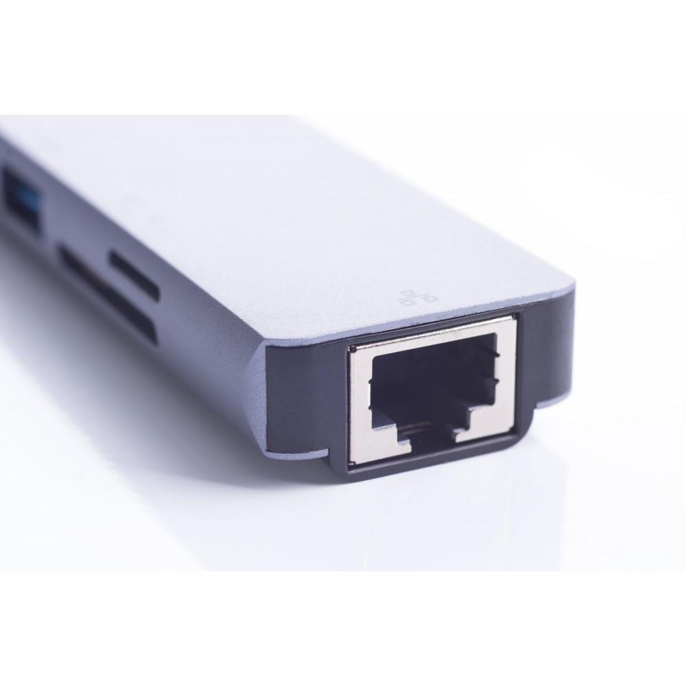 USB-хаб ZAMAX 8-в-1 Type C + USB HUB to HDMI/HDTV + PD + USB C + SD + TF + RJ45