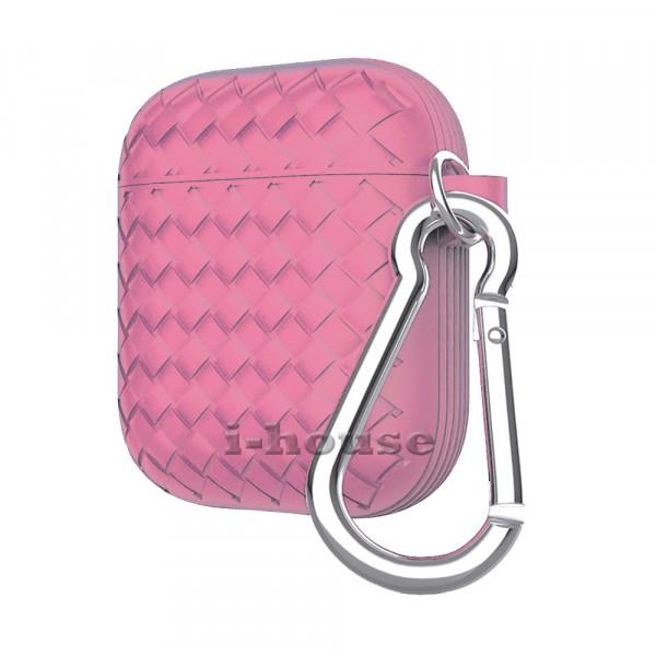Чехол для AirPods Silicone Case Cross Pink