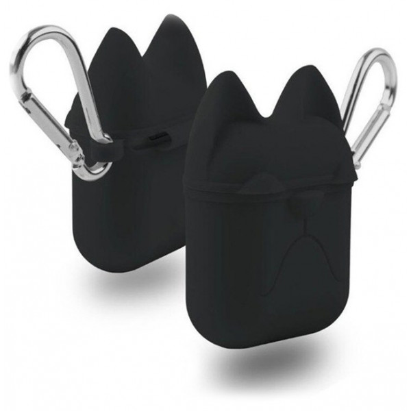 Чехол для AirPods Silicone Case Dog с карабином Black