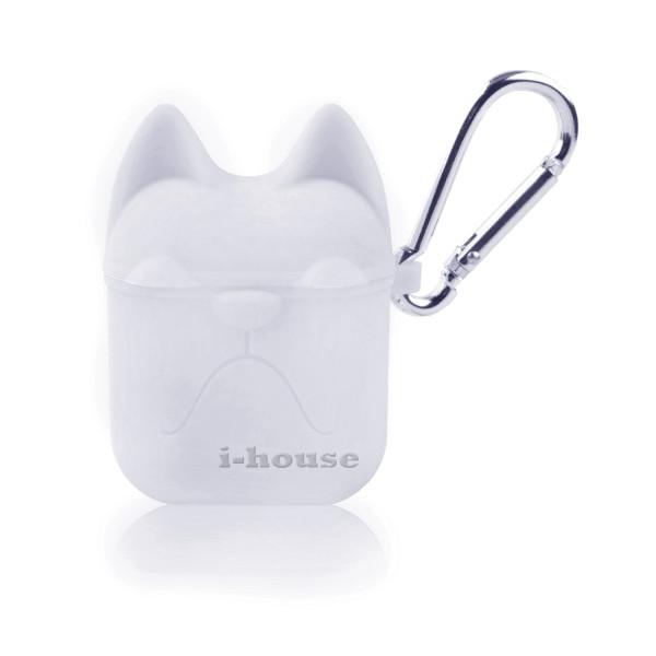 Чехол для AirPods Silicone Case Dog с карабином White