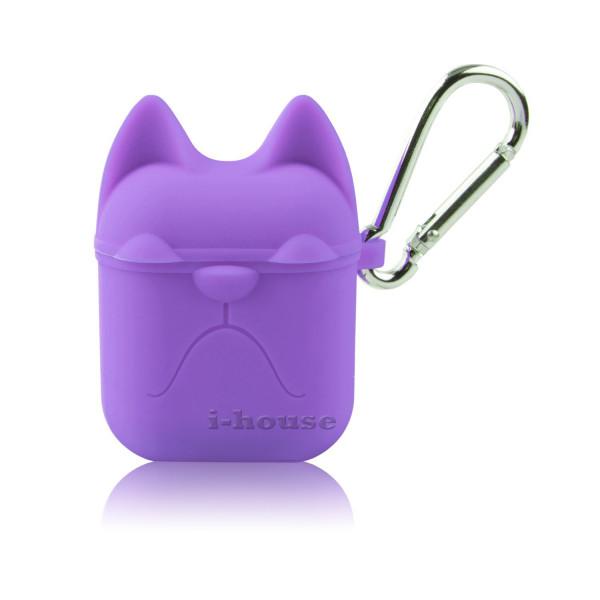 Чехол для AirPods Silicone Case Dog с карабином Purple