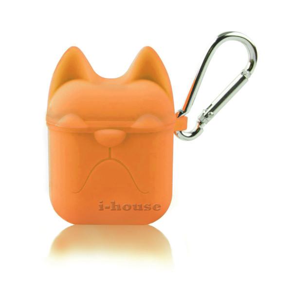 Чехол для AirPods Silicone Case Dog с карабином Orange
