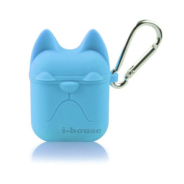 Чехол для AirPods Silicone Case Dog с карабином Blue