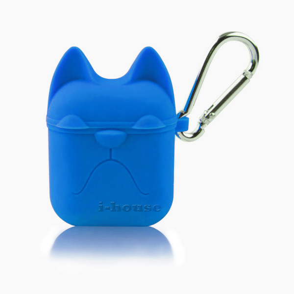 Чехол для AirPods Silicone Case Dog с карабином Cosmos Blue