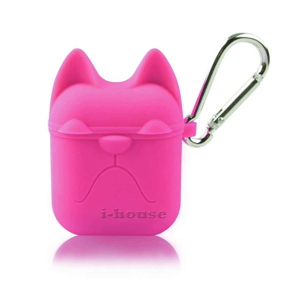 Чехол для AirPods Silicone Case Dog с карабином Pink