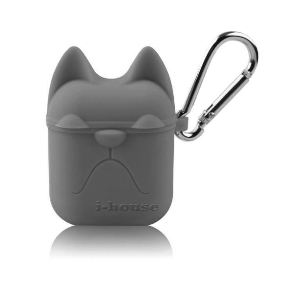 Чехол для AirPods Silicone Case Dog с карабином Gray