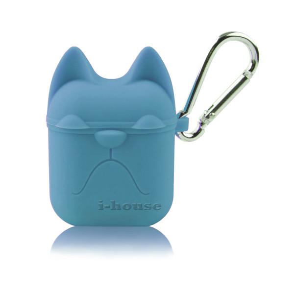 Чехол для AirPods Silicone Case Dog с карабином Royal Blue