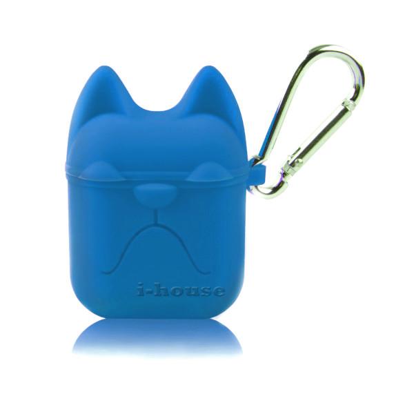 Чехол для AirPods Silicone Case Dog с карабином Navy Blue