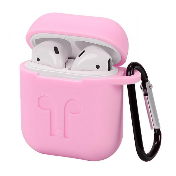 Чехол для Airpods LOGO с карабином Electric Pink