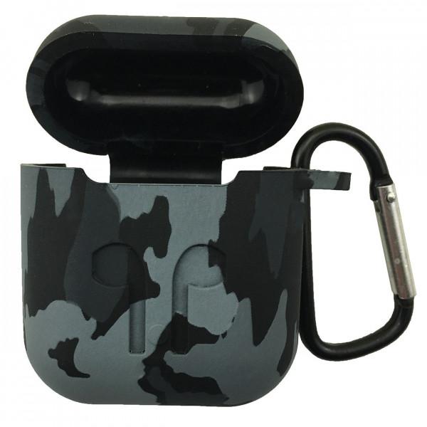 Чехол силиконовый для Airpods Military LOGO с карабином (Black)
