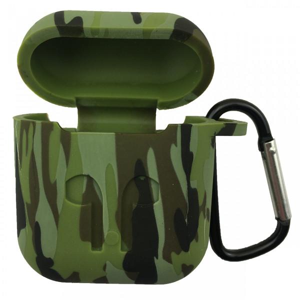 Чехол силиконовый для Airpods Military LOGO с карабином (Olive)