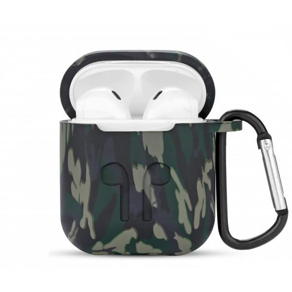 Чехол силиконовый для Airpods Military LOGO с карабином (Green)