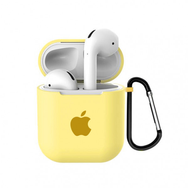 Чехол для AirPods 1 / 2 Silicone Case with Apple (Mellow Yellow)
