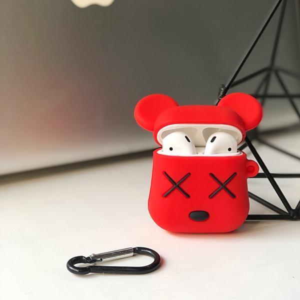 Чехол на AirPods 1/2 silicone case Kaws (Red)