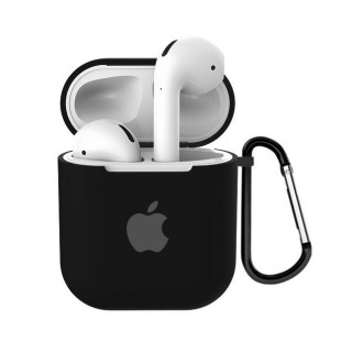 Чехол для AirPods 1 / 2 Silicone Case with Apple (Black)