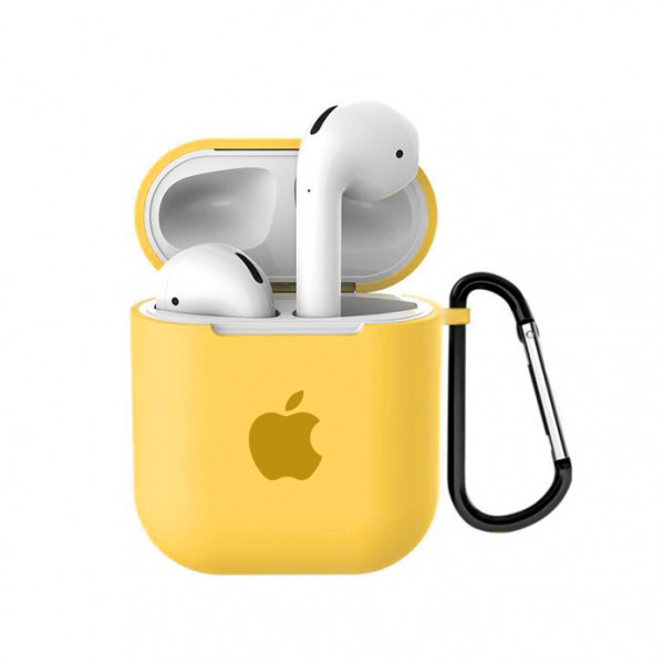 Чехол для AirPods 1 / 2 Silicone Case with Apple (Yellow)