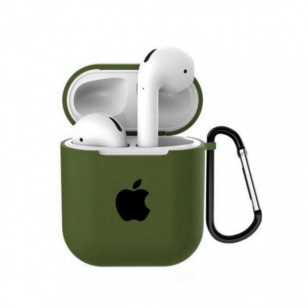 Чехол для AirPods 1 / 2 Silicone Case with Apple (Olive)