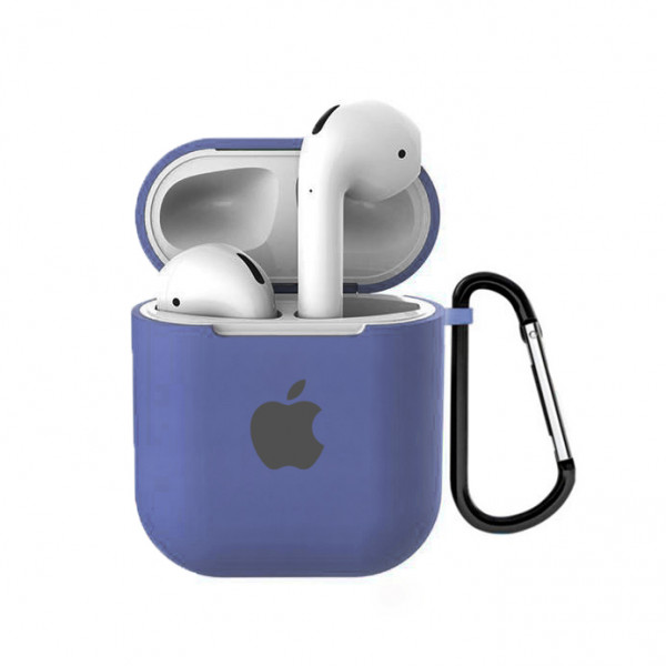 Чехол для AirPods 1 / 2 Silicone Case with Apple (Lavender Gray)