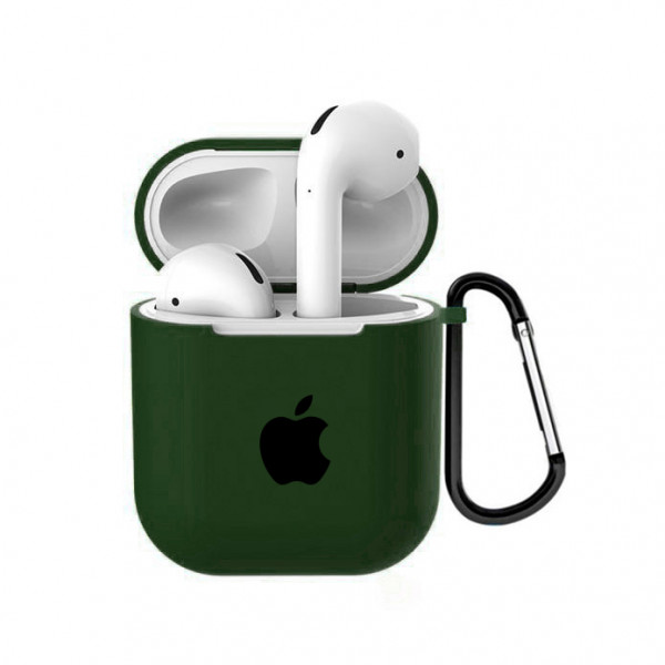 Чехол для AirPods 1 / 2 Silicone Case with Apple (Virid)