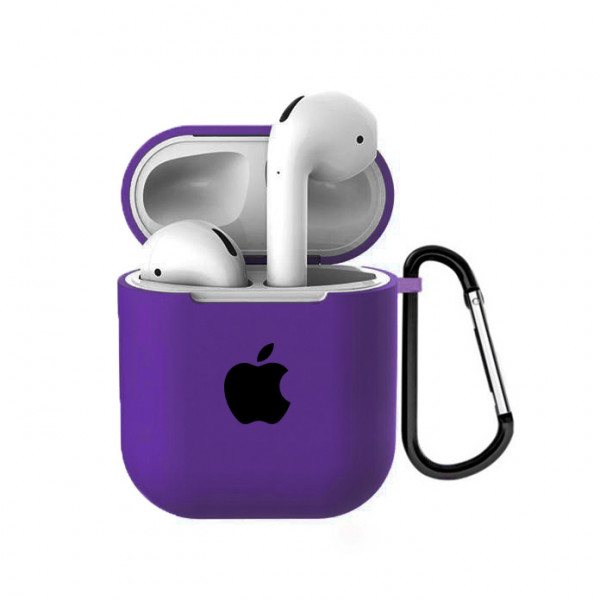 Чехол для AirPods 1 / 2 Silicone Case with Apple (Purple)