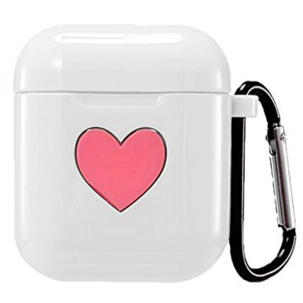 Чехол на AirPods 1/2 Silicone Case Love с карабином (White)