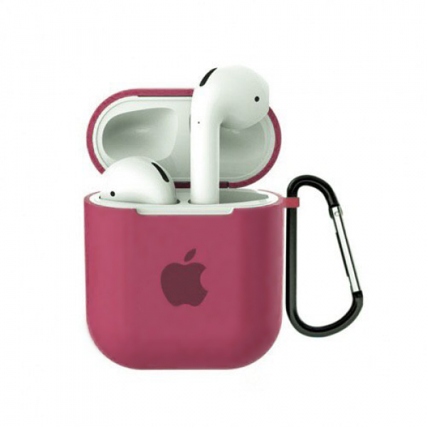 Чехол для AirPods 1 / 2 Silicone Case with Apple (Hibiscus)