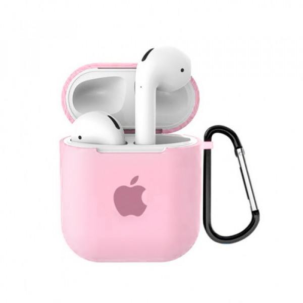 Чехол для AirPods 1 / 2 Silicone Case with Apple (Light Pink)