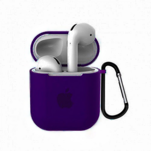 Чехол для AirPods 1 / 2 Silicone Case with Apple (Ultra Violet)