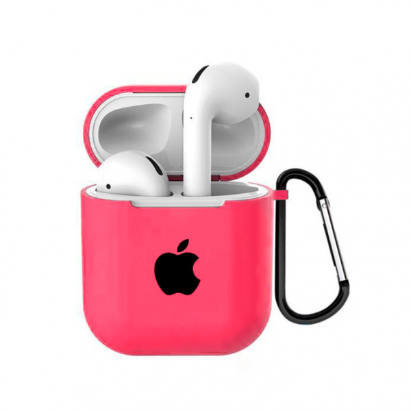 Чехол для AirPods 1 / 2 Silicone Case with Apple (Coral)