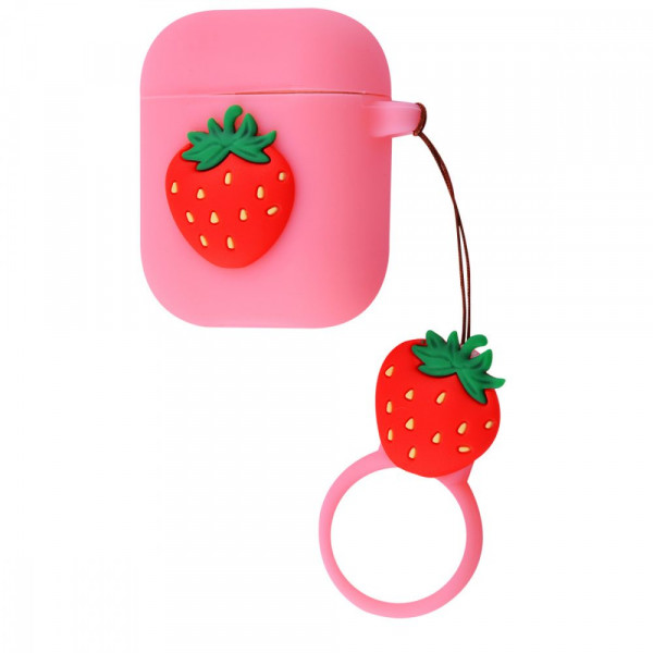 Чехол для AirPods 1/2 Fruits Silicone Case (Strawberry)