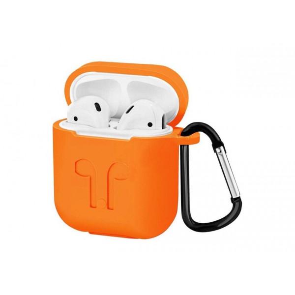 Чехол на AirPods 1/2 LOGO с карабином (Orange)