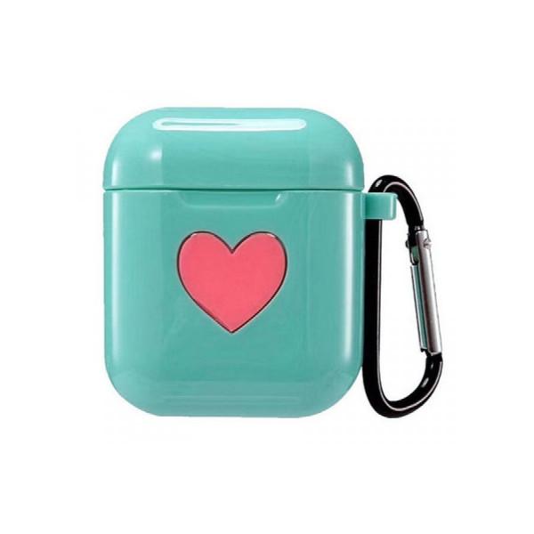 Чехол на AirPods 1/2 Silicone Case Love с карабином (Sea Blue)