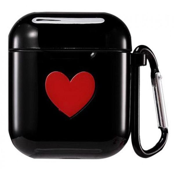 Чехол на AirPods 1/2 Silicone Case Love с карабином (Black)