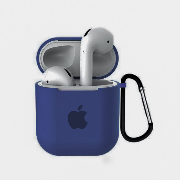 Чехол для AirPods 1 / 2 Silicone Case with Apple (Alaskan Blue)