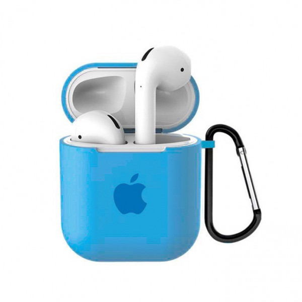 Чехол для AirPods 1 / 2 Silicone Case with Apple (Blue)