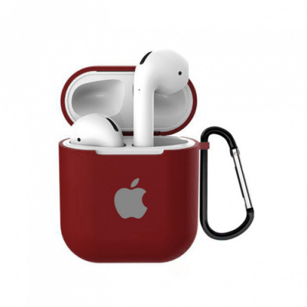 Чехол для AirPods 1 / 2 Silicone Case with Apple (Camellia White)