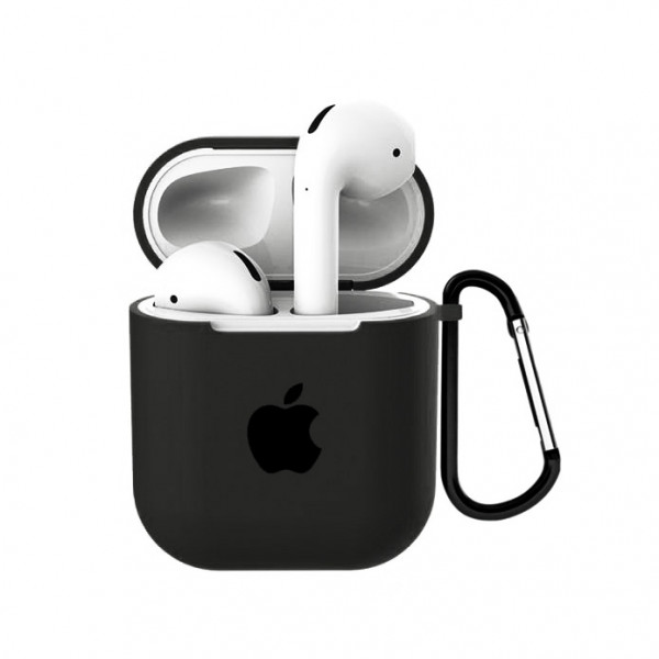 Чехол для AirPods 1 / 2 Silicone Case with Apple (Dark Olive)