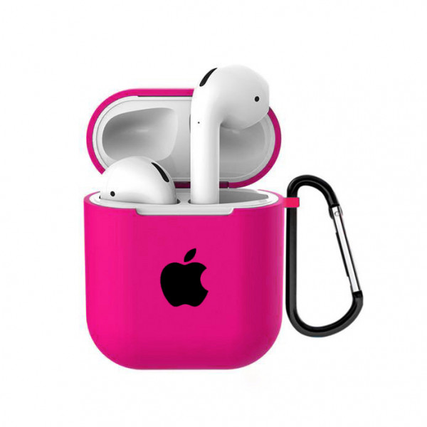 Чехол для AirPods 1 / 2 Silicone Case with Apple (Electric Pink)