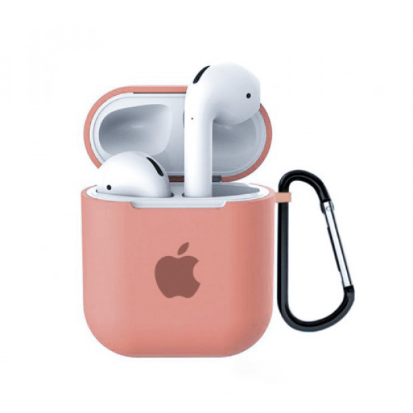Чехол для AirPods 1 / 2 Silicone Case with Apple (Flamingo)