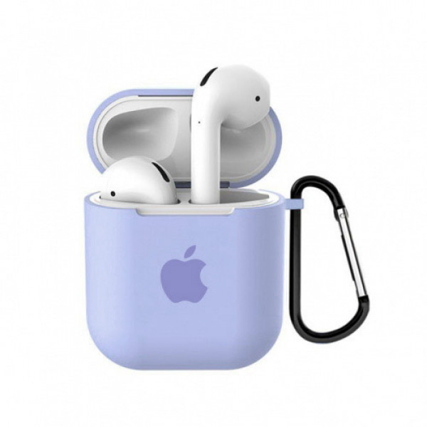 Чехол для AirPods 1 / 2 Silicone Case with Apple (Lilac Cream)