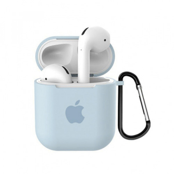 Чехол для AirPods 1 / 2 Silicone Case with Apple (Marine Green)