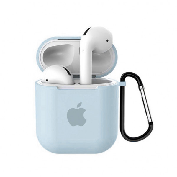 Чехол для AirPods 1 / 2 Silicone Case with Apple (Mint)