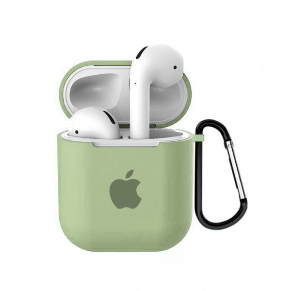 Чехол для AirPods 1 / 2 Silicone Case with Apple (Mint Gum)