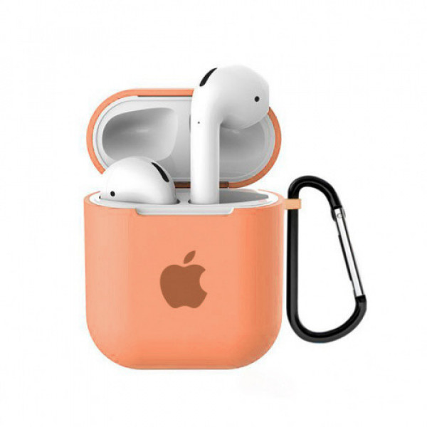 Чехол для AirPods 1 / 2 Silicone Case with Apple (Papaya)