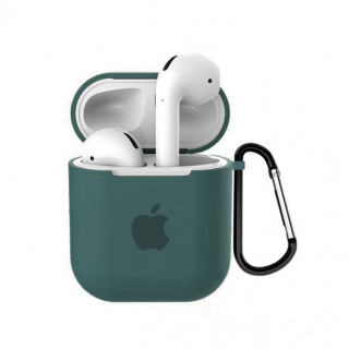 Чехол для AirPods 1 / 2 Silicone Case with Apple (Pine Green)
