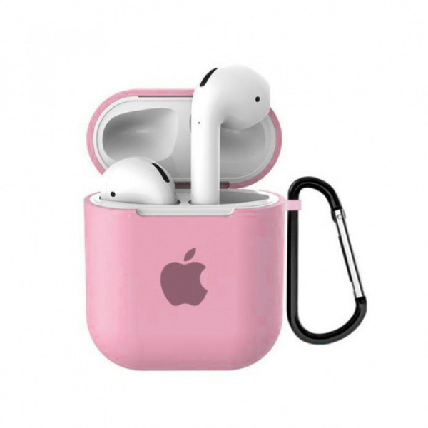Чехол для AirPods 1 / 2 Silicone Case with Apple (Pink)