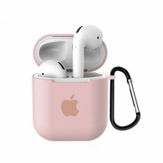 Чехол для AirPods 1 / 2 Silicone Case with Apple (Pink Sand)