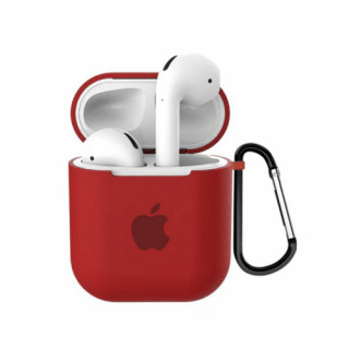 Чехол для AirPods 1 / 2 Silicone Case with Apple (Red)