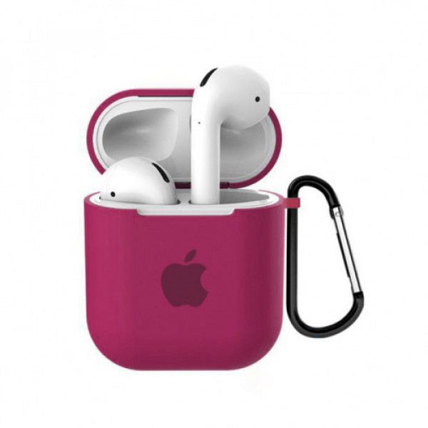 Чехол для AirPods 1 / 2 Silicone Case with Apple (Rose Red)